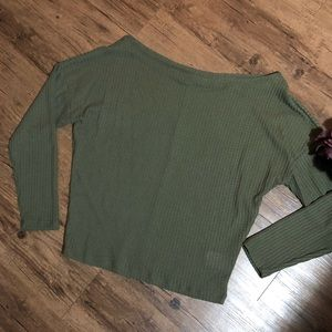 Express Green Waffle Knit Sweater